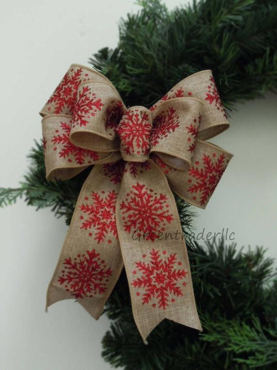 Burlap Christmas Wreath Bow Rustic Burlap bow Snowflakes Christmas Burlap Wreath Bow Ornament tree Bow Burlap Wreath Door Decor Bow Door Bow