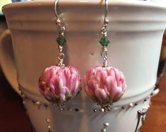 Pink lampwork dangle earrings