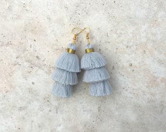 Taylor Gray Earrings, Tassel Earrings, Light Gray Earrings, Drop Earrings, Tassle Earrings, Silver Earrings, Handmade Earrings, Gray Tassels