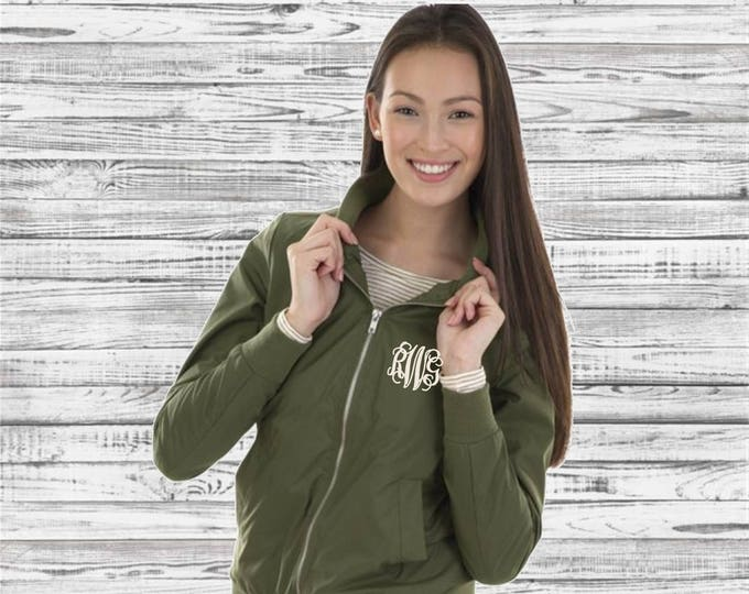 Monogrammed Bomber Jacket, Monogrammed Boston Flight Jacket, Charles River Apparel Jacket, Gifts for Her, Lightweight Rain Jacket