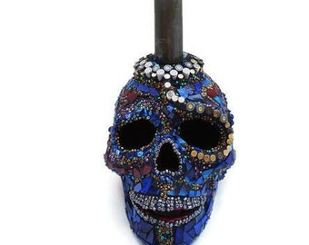 Gun Shell Casing Skull, Mexican Day of the Dead Skull, Bead Skull, Mosaic Skull, Skull Candle Holder, 25 mm Gun Shell Casing Skull, Glass