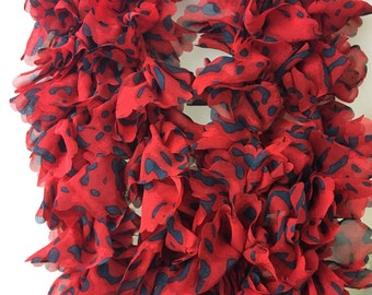 Boa Scarf Red Leopard Animal Print Ruffle Sheer Fabric Polyester Long 90 Inch