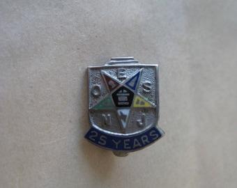Eastern Star Enamel Sterling Pin 25 Years Silver Vintage 925 Brooch