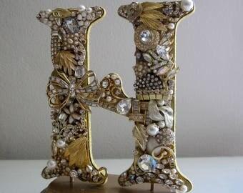 Gold Monogram H Brooch Cake Topper, Rhinestone H Topper, Gatsby Gold Wedding, Art Deco Topper, Jewelry Cake Topper, Wedding Topper Gift,