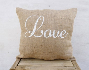 LOVE Burlap pillow cover, Daybe Motivational art quote, Best Gift for friends/ girlfriend/ boyfriend/ birthday, Beach decoration