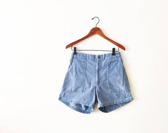 70s 80s Shorts / Corduroy Shorts / Mens Vintage Shorts / Blue Cord Shorts / High Waisted Shorts / Elastic Waist Shorts / Summer Shorts