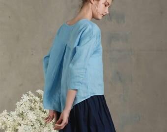 Linen blouse in blue / Linen top / Loose linen blouse / Comfortable linen cloth/ Linen Tunic / Blue Linen Shirt, linen tee
