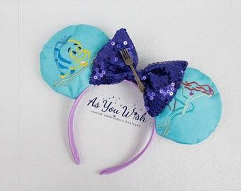 princess Ariel flounder dinglehopper mermaid  inspired Ears Headband custom mouse ears