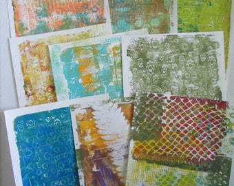 gelli print doodle paper altered art journal pages 9 pages 8.5 x 11