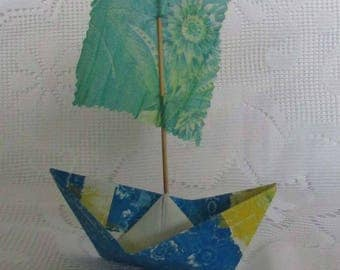 gelli print paper boat sailboat from hand printed paper and fabric center piece cake topper nautical display