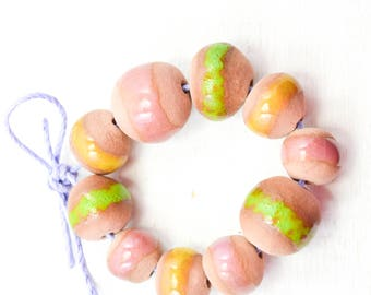 10 Handcrafted Ceramic Beads - Summer - Unique Assortment - Earthy - Striped- Handmade - Round- Pottery beads - Brownstone - Bead Set  Y478