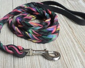 Braided Bullhide lead, Black, tie dye, leather, handmade leash