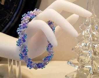 spiral bracelet, beaded bracelet, rope bracelet, seed bead bracelet, beadwork bracelet, purple bracelet, blue bracelet, beaded rope bracelet