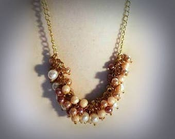 Multicolor Pearl Cluster Necklace Chunky Beaded Necklace Multi Color Pearl Necklace Pearl Jewelry Peach Taupe White Pearly Necklace