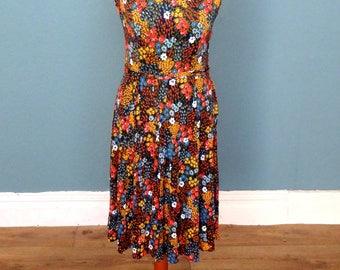 Vintage 70's Floral Print Summer Dress UK Size 8 - 10