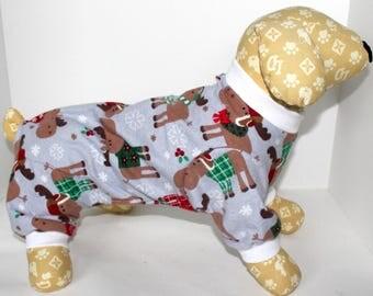 Dog Pajama Onesie, Size Medium - Cute Winter Holiday Moose Dog Onesies Pajamas, Fashion Dog Clothing