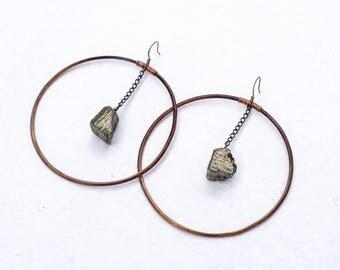 Large Hoop Earrings With Pyrite Dangles, Copper Hoops, Crystal Hoops, Boho Jewelry