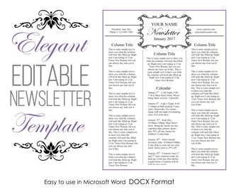 Newsletter Template for Microsoft Word - Elegant - EDITABLE - Instant Download - Printable