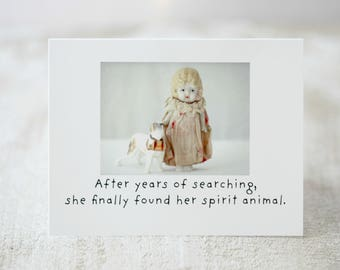 "Claudia Funny Bisque Doll Card ""Spirit Animal"" Doll Photography Saint Bernard Humor (1)"