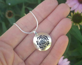 Rose Flower Sterling Silver Essential Oil Necklace. Hand Cut Rose Botanical Pendant. Aromatherapy Diffuser Necklace. Ready to Ship.