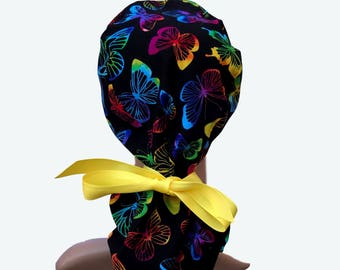 Ponytail Scrub Hat with ribbon ties - Neon Colorful Butterflies on Black Ponytail Scrub-Surgical Scrub Hat - lined scrub hat - Fun Scrub Hat
