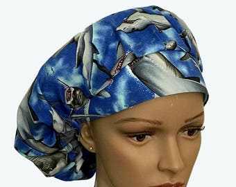 Bouffant Scrub Hat with ties - Angry Sharks Bouffant scrub hat - Ocean Life Ponytail Scrub hat - Custom Scrub Hat - Personalized Scrub hat