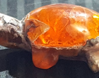 "RESERVED For Michelle 6.5ct Mexican Matrix Opal Turtle Carving Figurine Untreated Super Bright Natural Orange Opal ""PAWS OFF"""
