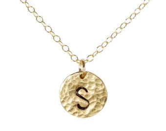 Initial Circle Charm - 1/2 Inch Disc in 14k Gold Fill
