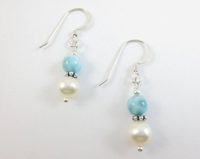 5 mm Larimar Stacked on 6 mm Fresh Water Pearl Earrings on Sterling Silver or 14k Gold Fill