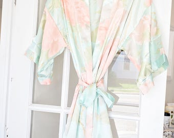 Bridesmaid Robes - floral monogram getting ready robes for wedding day - bridal party gift sets