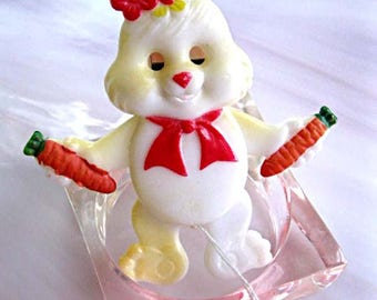 Bunny Rabbit Brooch, Plastic Mover Pull-String Articulated Easter Rabbit, Red Bow, Flowers Carrots, Cartoon Girl Bunny