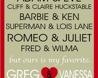 "Custom Printable Anniversary|Wedding|Bridal Shower|Engagement Art - 8x10"" - Gift|Love|Couples|Heart|Milestone|Special|Memorabilia|Valentines"