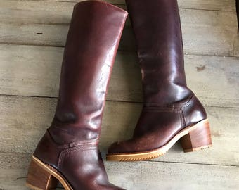Tall Brown Leather Boots, Chunky Wood Heel, Knee High Campus Riding Commuting Boots, Vibram Soles, Womens Size 6 7