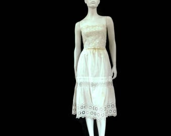 WWII French Lingerie Eyelet Cotton and Lace Camisole and Petticoat Slip