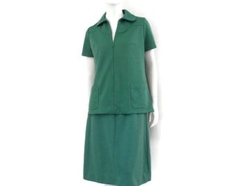 Official Girl Scout Uniform Troop Leader Skirt and Blouse Green Polyester from 1970's sz 12/16