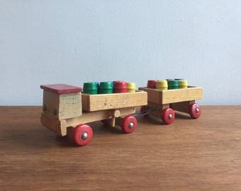 Vintage West German Wooden Toy Truck, Wooden Toy, Steiner Toy