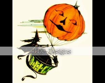 Instant Digital Download, Vintage Antique Graphic Ephemera, Witch in Hot Air Balloon Jack-O-Lantern Pumpkin, Owl, Halloween, Printable Image