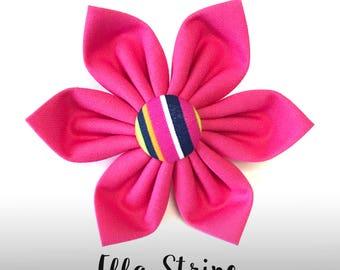 Hot Pink Dog Collar Flower; Colorful Stripe Dog Flower: Ella Stripe in Pink