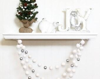 Felt Ball Garland with Silver Beads, Pom Pom Garland, Christmas Party Decor, White & Silver, Winter Decor, Christmas Garland