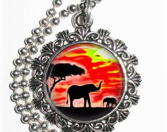 Elephant and Cub at Sunset Art Pendant, Lucky Resin Pendant, Animal Photography Art, Photo Pendant Charm