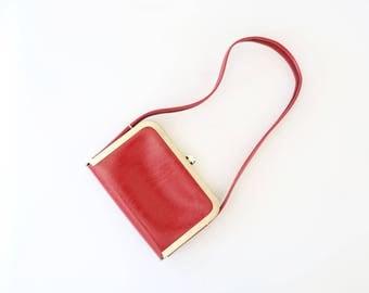 Vintage 60s RED MOD gold frame handbag kelly purse shoulder bag