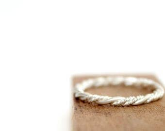 Twisted Sterling Silver Ring Thin Stacking Ring Minimalist Braided Ring Nautical Handcrafted Jewelry Rope Band Ring