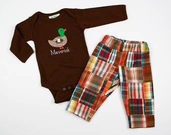 Baby Hunting Shirt - Boys Fall Clothes - Mallard T-Shirt - Boys Fall Outfit - Patchword Madras Plaid Pants - Duck Hunting Shirt for Baby Boy