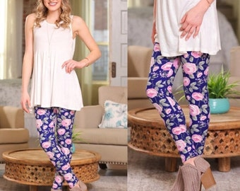 Blue and Pink Floral Print Leggings for Women| Perfect for Spring and Summer!