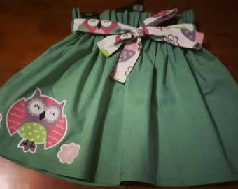Girls cotton sage green skirt with owl applique and belt