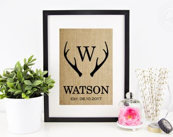 Antler Decor, Deer Antlers Monogram, Personalized Wedding Gifts for Couple, Engagement Gift, Rustic Decor, Antler Wall Art, Woodsy Decor