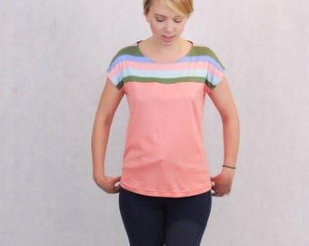 Summer Top, T-Shirt, Summer Shirt, Tangerine Top, Apricot Top, Peach T-Shirt, Peach Striped Top, Apricot T-Shirt, Striped Summer Top