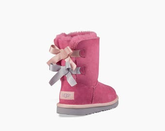 Custom Kids Youth UGG Boots Short Bailey Bow Pink Tan Gray Black w/ Swarovski Crystal Rhinestone Jewel Winter Bling Dynamite Rhinestone Gift