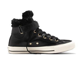 Black Converse Fur lined Leather High Top Boot Winter Jet Boot Bling w/ Swarovski Crystal Rhinestone Chuck Taylor All Star Trainers Shoes