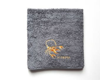 Zodiac / Personalized Towel / Monogrammed Towel / Hand Towel / Wedding Towels / Embroidered Towel / Gift / Baby Towel